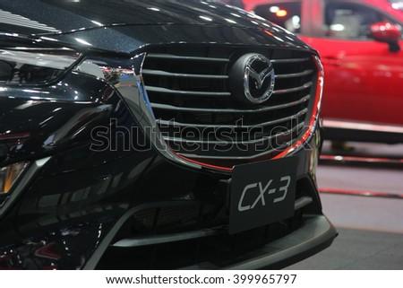Bangkok - March 31 : Mazda CX-3 on black car at The 37th Bangkok International Thailand Motor Show 2016 on March 26, 2016 in Bangkok, Thailand - stock photo