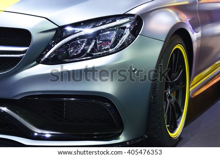 BANGKOK - MARCH 23: Mercedes Benz car on display at The 37 th Thailand Bangkok International Motor Show on March 23, 2016 in Bangkok, Thailand. - stock photo
