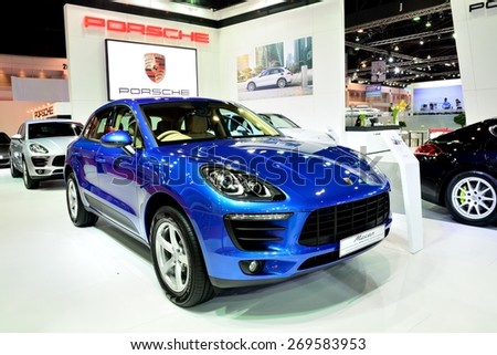 BANGKOK - March 26 : New Porsche Macan, Cross over Car, on DisPlay at 36th Bangkok International Motor Show on March 26, 2015 in Bangkok, Thailand. - stock photo