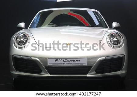 Bangkok - March 31 : Porsche 911 carrera on white car at The 37th Bangkok International Thailand Motor Show 2016 on March 31, 2016 in Bangkok, Thailand - stock photo