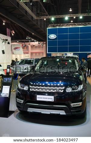 BANGKOK - MARCH 25 : Range Rover Sport on display at The 35th Bangkok International Motor Show on March 25, 2014 in Nonthaburi, Thailand. - stock photo