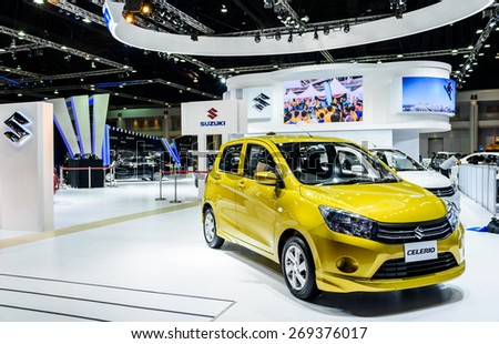 "BANGKOK - MARCH 24 : Suzuki Celerio on display at The 36th Bangkok International Motor Show ""Art of Auto"" on March 24, 2015 in Bangkok, Thailand. - stock photo"