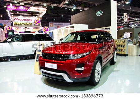 BANGKOK - MARCH 26 : The Range Rover EVOQUE car on display at The 34th Bangkok International Motor Show 2013 on March 26, 2013 in Bangkok, Thailand. - stock photo