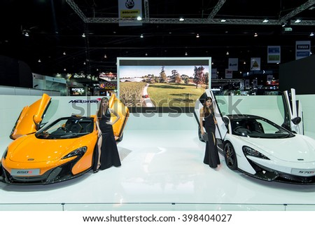 BANGKOK - March 27, 2016 : Unidentified model with Mclaren car on display at the 37th BANGKOK INTERNATIONAL MOTOR SHOW 2016 on March 27, 2016 in Bangkok, Thailand. - stock photo