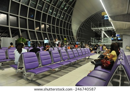 BANGKOK - MAY 9: View of a departure gate lounge at Suvarnabhumi International Airport on May 19, 2013 in Bangkok, Thailand. The SE Asia aviation hub handles 45 million passengers annually. - stock photo