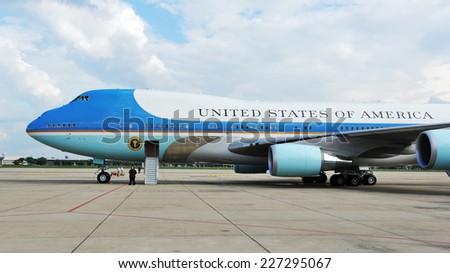 BANGKOK - NOV 18: Air Force One sits on the runway at Don Muang International Airport as US president Barack Obama begins his historic Southeast Asian tour on Nov 18, 2012 in Bangkok, Thailand.  - stock photo