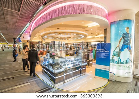 Bangkok- November 20,2015 : King power Duty free shop at Don Mueang Airport, Bangkok of Thailand. Don Mueang International Airport is one of two international airports serving Bangkok, Thailand. - stock photo