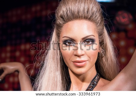 BANGKOK - OCT 28: A waxwork of Beyonce Knowles on display at Madame Tussauds on October 28, 2015 in Bangkok, Thailand. Madame Tussauds' newest branch hosts waxworks of numerous stars and celebrities. - stock photo