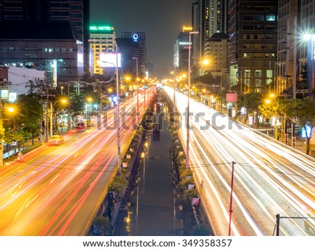 BANGKOK - OCTOBER 24: Traffic congestion in Bangkok, Thailand, during twilight night light view, on October 24, 2015. - stock photo