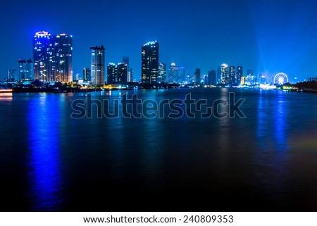 Bangkok river view form Krungthep Bridge - stock photo