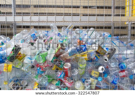 BANGKOK, SEPTEMBER 2015: Plastic bottle and drinking can recycle in Thailand. The plastic is gathered by color and type to be recycled. - stock photo
