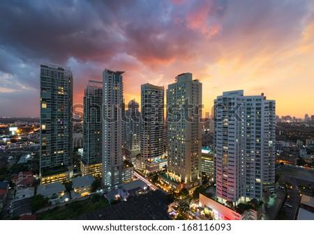 Bangkok skyline at sunset, Thailand. - stock photo