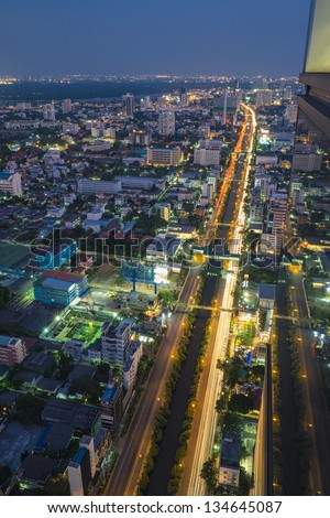 Bangkok skyline vertical at top of view - stock photo