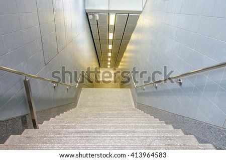 Bangkok subway stairs of to change platform or leave it - stock photo