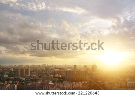 Bangkok sunset, Bangkok city, Bangkok Thailand, Sunset - stock photo