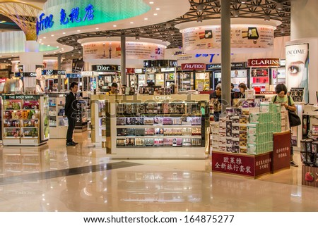 BANGKOK,THAIILAND-OCTOBER 12 :A duty-free shops in departure terminal of Don Mueang international airport on October 12,2013 in Bangkok,Thailand. It is one of the world oldest international airports. - stock photo