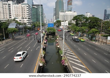 BANGKOK, THAILAND - APRIL 17: A street scape view of a main road in the city of Bangkok, Thailand on the 17th April, 2015. - stock photo