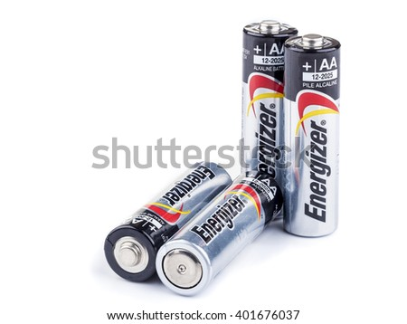 BANGKOK, THAILAND - APRIL 05, 2016: Energizer's cylindrical AA-type Alkaline battery, It is primary battery having norminal voltage of 1.5 volts - stock photo