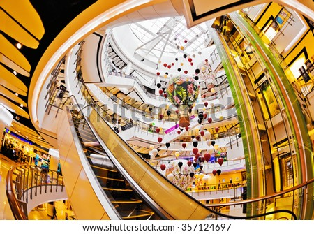 BANGKOK, THAILAND- APRIL 30, 2015: Festive interior ZEN shopping mall in Central World Plaza. It is a shopping plaza which is the sixth largest shopping complex in the world, owned by Central Pattana - stock photo
