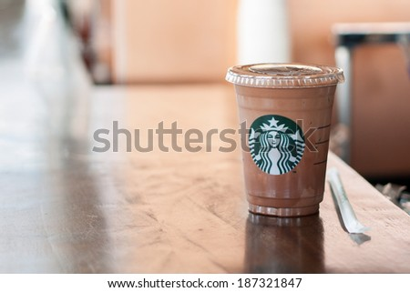 Bangkok ,Thailand-April 10 : Glass of Starbuck Coffee Frappuccino Blended Beverages  served on counter on 10 April 2014 in starbuck shop at The Circle Rajapruek, Bangkok, Thailand.  - stock photo
