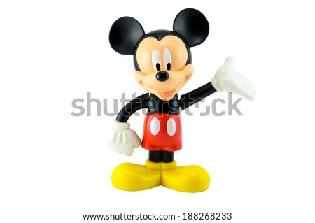 Bangkok,THAILAND - April 9, 2014: Mickey mouse from Disney character. plastic toy sold as part of the McDonald's Happy meal. - stock photo