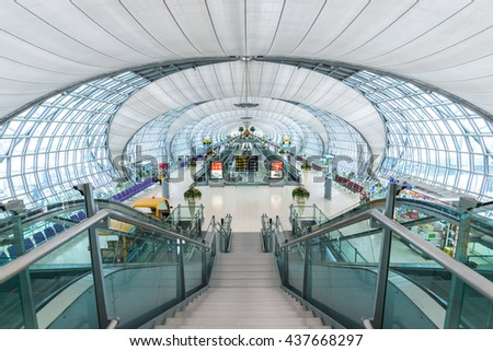 BANGKOK-THAILAND : 13 APRIL 2014 - Suvarnabhumi Airport with modern interior and architecture view on 13 April 2014.The airport handles 45 million passengers annually. - stock photo
