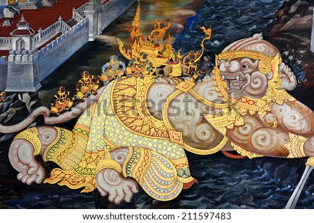 BANGKOK ,THAILAND - AUG 16 : Ancient Thai mural painting with tempera colors and gilding painting of Ramayana story in Wat Phra Sri Rattana Satsadaram on August 16, 2014 in Bangkok, Thailand. - stock photo