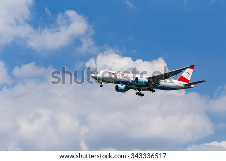 BANGKOK, THAILAND - AUGUST 25: Austrian Airlines Boeing 767 approaching to Airport on August 25, 2015 in Bangkok, Thailand - stock photo