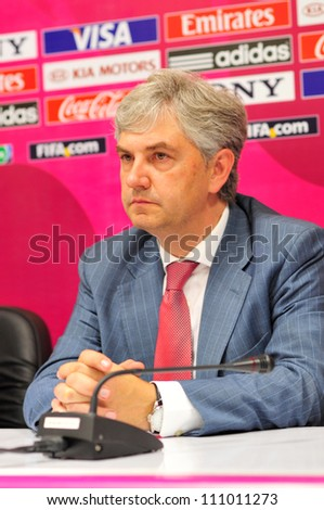 BANGKOK THAILAND - AUGUST 24 : J.Venancio Lopez Coach of Spain in Friendly futsal match Between Thailand VS Spain at Nimibutr Stadium on August 24,2012 in Bangkok,Thailand. - stock photo