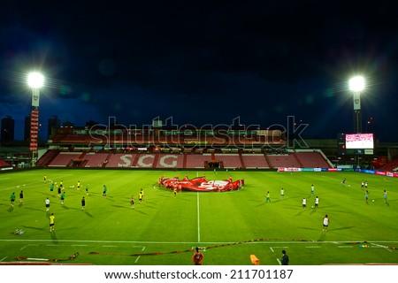 BANGKOK THAILAND-AUGUST 16:Panoramic view of SCG stadium before match  the Thai Premier League between Muangthong UTD. and Samutsongkhram FC at SCG Stadium on Aug 16,2014 in Thailand. - stock photo