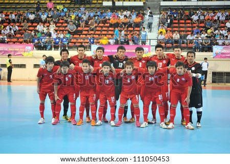 BANGKOK THAILAND - AUGUST 24 : Thailand Team in Friendly futsal match Between Thailand VS Spain at Nimibutr Stadium on August 24,2012 in Bangkok,Thailand. - stock photo
