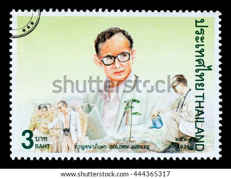 Bangkok, Thailand - Circa 2010: A Thai postage stamp printed in Thailand depicting his majesty the king of Thailand, circa 1996 - stock photo