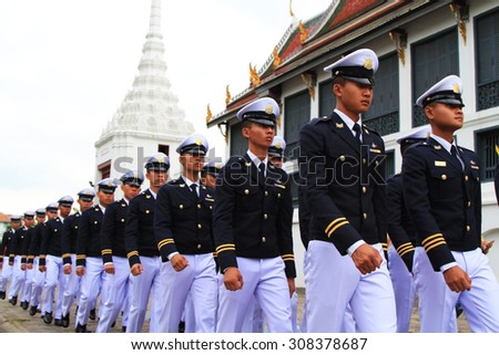 BANGKOK, THAILAND - DEC 5 : Armed force students in a parade during the celebration of the 87th birthday of H.M. King Bhumibol Adulyadej in Bangkok, Thailand on December 5, 2014. - stock photo