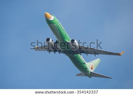 BANGKOK, THAILAND - DECEMBER 20, 2015: A Boeing 737-8FH registration number HS-DBG of Nok Air flight DD7104 flying from Don Mueang International Airport (DMK) to�Hat Yai Internation Airport (HDY) - stock photo
