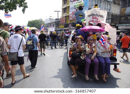 BANGKOK,Thailand - DECEMBER 9,2013 : Anti-government protesters in Bangkok, Thailand. The protest Against The government in Bangkok, capital of Thailand - stock photo
