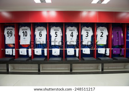 BANGKOK,THAILAND-DECEMBER 05: Athletic dressing rooms team of Team Figo during the Global Legends Series match, at the SCG Stadium on December 5, 2014 in Bangkok, Thailand. - stock photo
