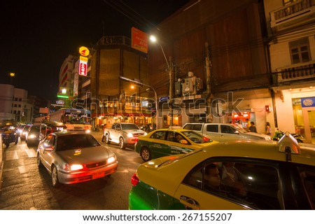 Bangkok, Thailand - 14 december 2014. Cars and buildings on Yaowarat Road is a main street in Chinatown, Bangkok, Thailand - stock photo