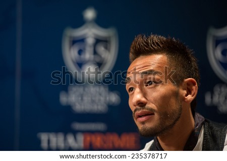 BANGKOK, THAILAND - DECEMBER 03: Hidetoshi Nakata speaks to the media during a press conference in the lead up to the Global Legends Series, at the Swissotel, on Dec3, 2014 in Bangkok, Thailand. - stock photo