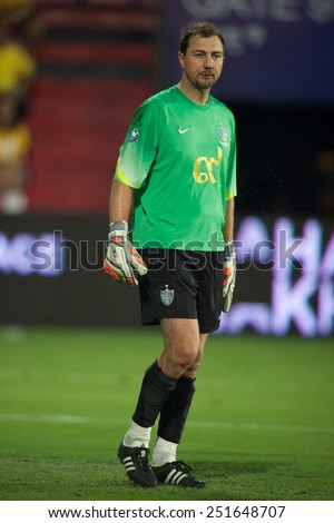 BANGKOK, THAILAND - DECEMBER 05:Jerzy Dudek of Team Cannavaro in action during the Global Legends Series match, at the SCG Stadium on December 5, 2014 in Bangkok, Thailand. - stock photo