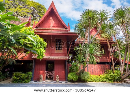 BANGKOK, THAILAND - DECEMBER 30: Jim Thompson Museum in Bangkok, Thailand on December 30, 2014. House of the founder of Jim Thompson Thai Silk Company. He disappeared on a trip in Malaysia in 1967 - stock photo