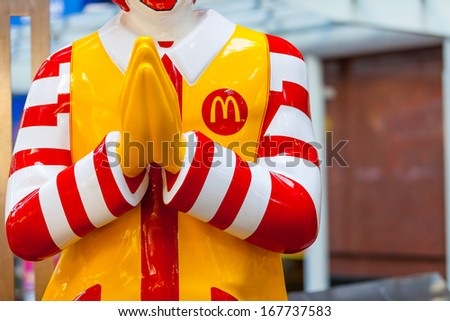 BANGKOK,THAILAND - DECEMBER 17: Mcdonals character at sathorn  on December 17, 2013 in bangkok ,Thailand - stock photo