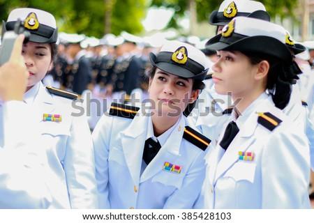BANGKOK, THAILAND â?? DECEMBER 5: Naval nurse, Military nursing students of the Royal Thai Navy in father's day celebration on December 5, 2015, in Sanam Luang, Bangkok, Thailand - stock photo