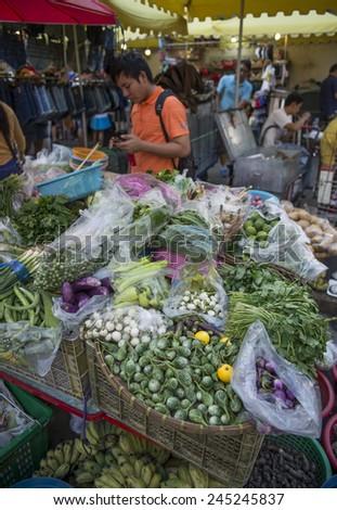 BANGKOK, THAILAND - DECEMBER 25, 2014: Street Photography of Street market in China town.  - stock photo