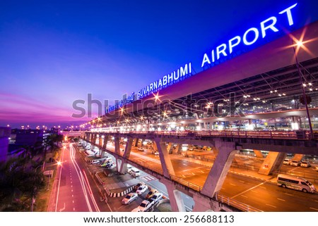 Bangkok,Thailand - December 02,2013 : Suvarnabhumi Airport at night in Bangkok ,Thailand. This airport is the world's third largest single building airport terminal designed by Helmut Jahn. - stock photo