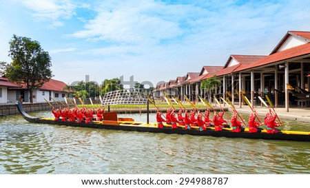 BANGKOK, THAILAND - DECEMBER 17: Thai Royal Barge in Bangkok, Thailand on December 17, 2014. Unidentified group of Thai royal marines re�·hearse the sail of the Thai royal barge procession - stock photo