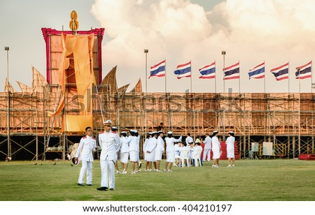 Bangkok, Thailand - December 5, 2015: Unidentified students of the Royal Thai Navy in birthday celebration (father's day) King of Thailand on December 5, 2015, in Sanam Luang, Bangkok, Thailand.  - stock photo
