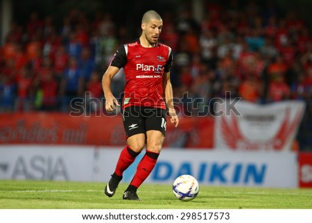 BANGKOK THAILAND- FEB 21:Romain Gasmi of Bangkok UTD F.C. in action during Thai Premier League between Bangkok UTD F.C. and Ratchaburi F.C. at Thai-Japanese Stadium on Feb21,2015 in Bangkok Thailand - stock photo