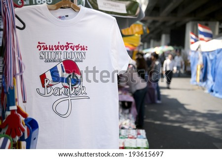 BANGKOK, THAILAND - 15 FEBRUARY 2014: Bangkok Shutdown T-Shirt in Thailand - stock photo