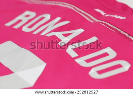 BANGKOK, THAILAND - FEBRUARY 14, 2015: the name of Cristiano Ronaldo on the real madrid pink jersey on February 14, 2015 in Bangkok Thailand. - stock photo