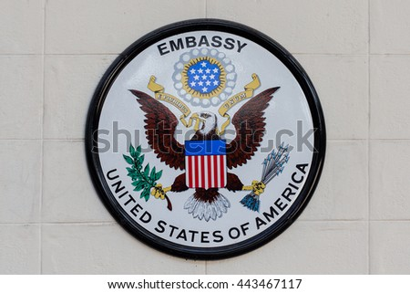 BANGKOK,THAILAND - FEBRUARY 13, 2016: The USA embassy sign. The embassy is located on Wireless Road in the heart of Bangkok. - stock photo